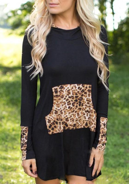 Black Patchwork Leopard Pockets Hooded Fashion Mini Dress