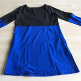 New Women Black Patchwork Pockets Round Neck Long Sleeve Mini Dress