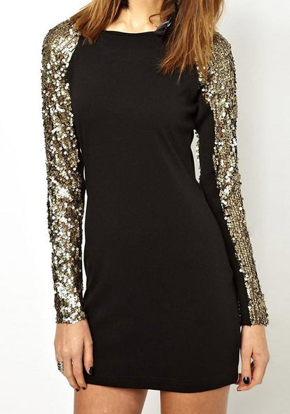 Black Patchwork Sequin Round Neck Fashion Polyester Mini Dress