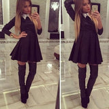 Black Patchwork White Draped Turndown Collar Long Sleeve Mini Dress