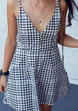 Black Plaid Condole Belt Pleated V-neck Fashion Mini Dress
