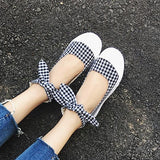 Black Plaid Print Round Toe Bow Sweet Flat Shoes
