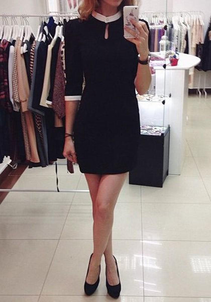 Black Plain Band Collar Fashion Mini Dress