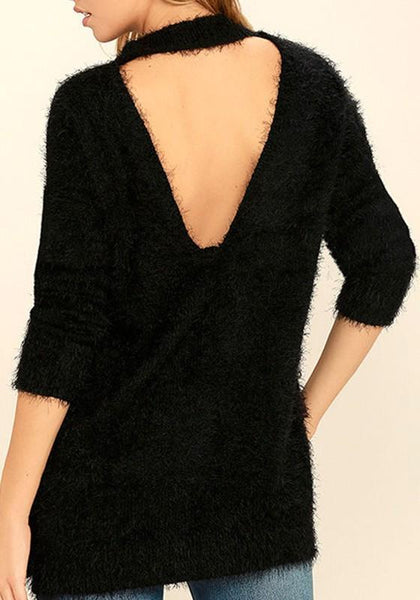 Black Cut Out Backless Round Neck Pullover Sweater Jumper