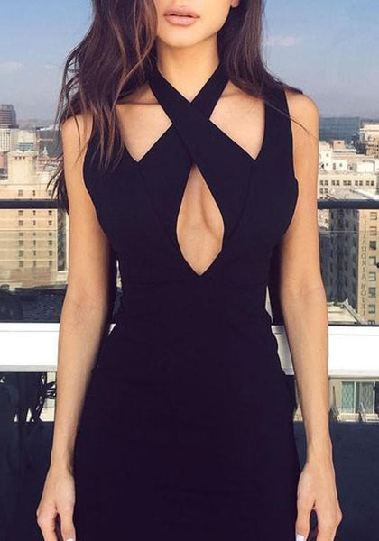 Black Plain Cut Out Halter Neck Backless Bandage Clubwear Mini Dress
