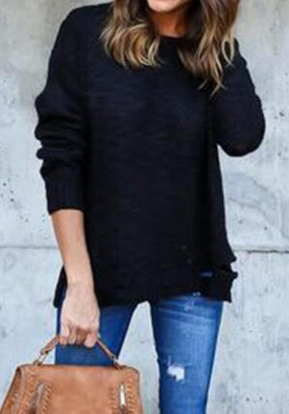 Black Plain Cut Out Round Neck Fashion Acrylic Pullover Sweater