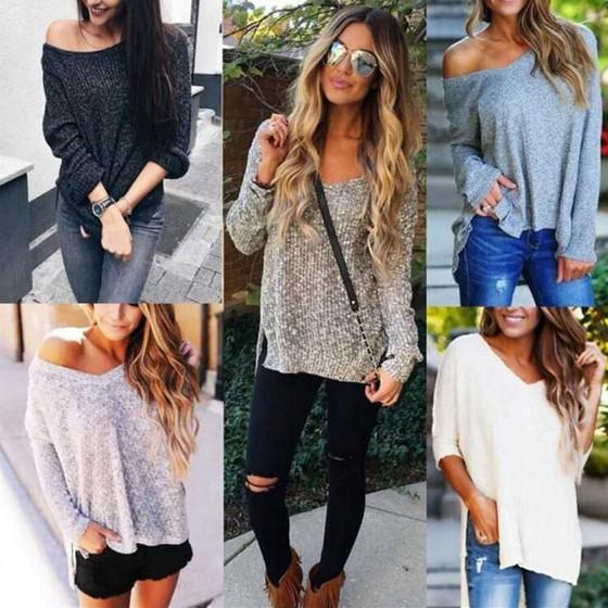 Apricot Off Shoulder V-neck Irregular High-low Side Split Oversized Pullover Jumper Sweater
