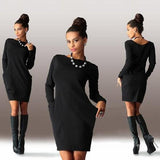 Black Plain Pockets Round Neck Long Sleeve Mini Dress