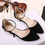 Black Point Toe Fashion Buckle Flat Shoes
