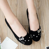 Black Round Toe Bow Cat Face Casual Flat Shoes