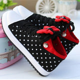 Black Round Toe Bow Polka Dot Print Cute Flat Shoes