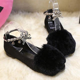 Black Round Toe Flat Beads Faux Fur Patchwork Casual Shoes