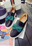 Black Round Toe Flat Bow Casual Ankle Shoes