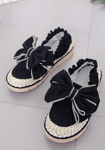 Black Round Toe Flat Bow Sweet Ankle Flats