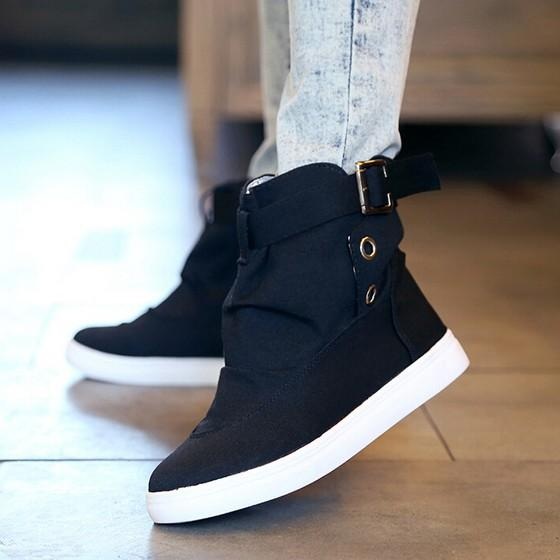 Black Round Toe Flat Casual Canvas Shoes