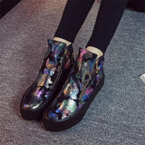Black Round Toe Flat Floral Print Casual Ankle Shoes