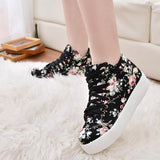 Black Round Toe Flat Floral Print Casual Canvas Shoes