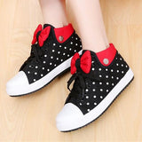Black Round Toe Flat Polka Dot Print Bow Cute Canvas Shoes