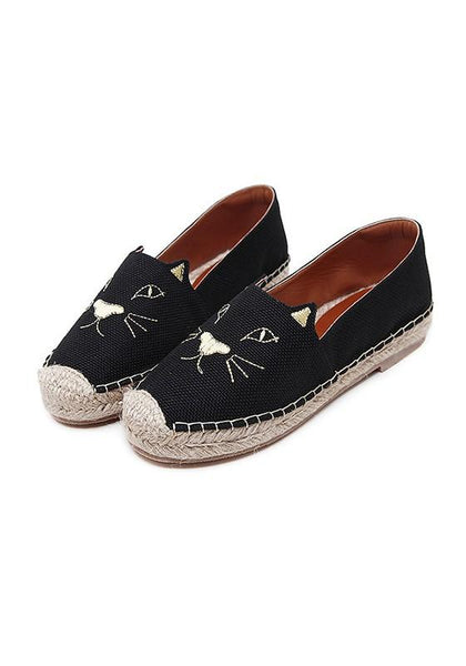 Black Round Toe Flat Print Casual Shoes