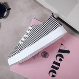 Black Round Toe Flat Striped Print Casual Canvas Shoes