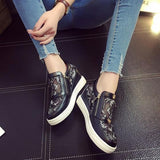 Black Round Toe Flat Within The Higher Lace Casual Shoes