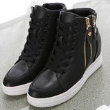 Black Round Toe Flat Zipper Casual Ankle Shoes