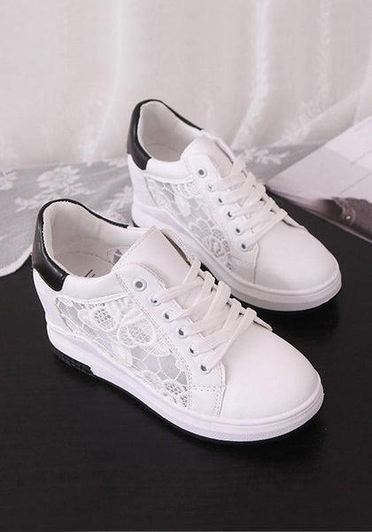 Black Round Toe Within The Higher Lace Stitching Embroidery Casual Ankle Shoes