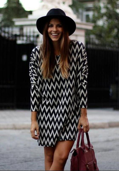 Black Striped Print Long Sleeve Fashin Casual Loose Chiffon Mini Dress
