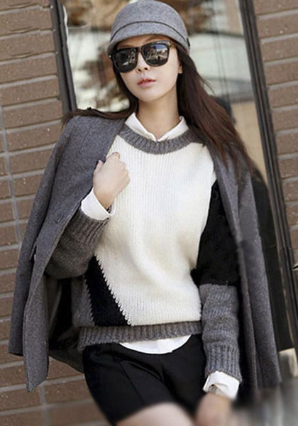 Black-White Color Block Print Pullover Sweater