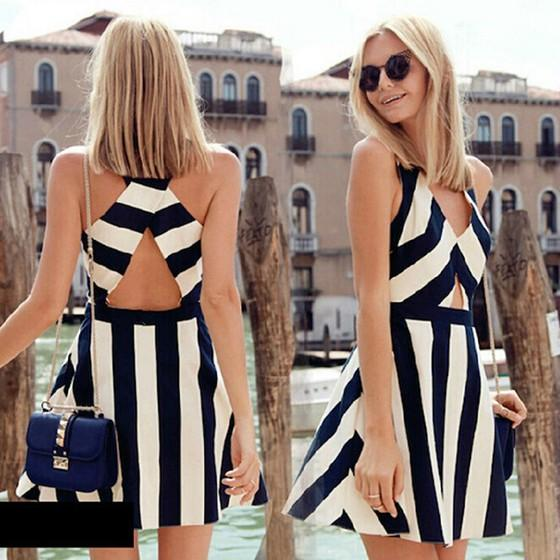 Black and White Striped Cross Back V-neck Elegant Fashion Party Midi Dress