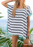 Black-White Striped Tassel Fashion Loose Chiffon Mini Dress