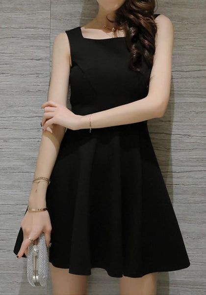 Black Zipper Pleated Condole Belt Square Neck Sleeveless Mini Dress