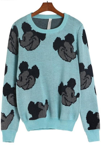 Blue Cartoon Mickey Print Sweet Pullover