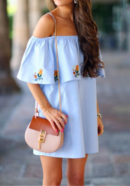 Blue Floral Condole Belt Embroidery Boat Neck Mini Dress