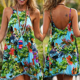 Blue Floral Condole Belt Tassel Backless Bohemian Mini Dress
