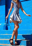 Blue Floral Draped Plunging Neckline Fashion Mini Dress
