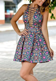 Blue Floral Boho Style Print Cut Out Pleated Plunging Neckline Cute Peplum Skater Mini Dress