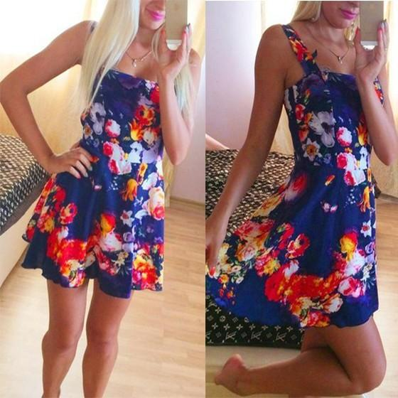 Blue Floral Shoulder-Strap Pleated Backless Sleeveless Mini Dress