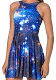 Blue Galaxy Print Round Neck Sleeveless Casual Mini Dress