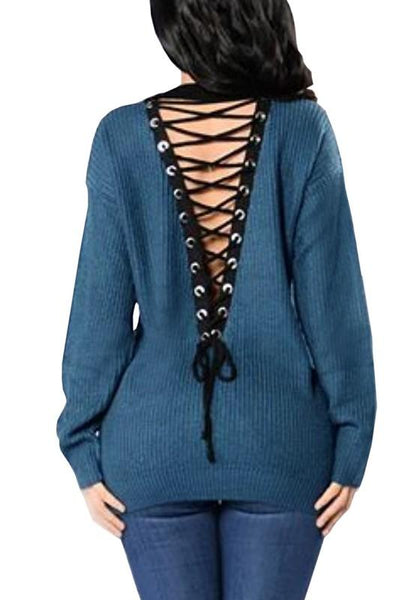 Blue Patchwork Hollow-out Drawstring Lace Up Pullover Sweater