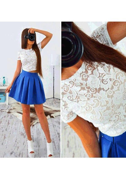 Blue Patchwork Lace Hollow-out Pleated 2-in-1 Round Neck Mini Dress