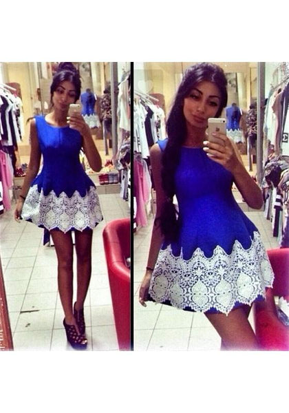 Blue Patchwork Lace Round Neck Fashion Mini Dress