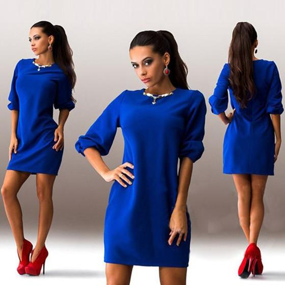 Blue Plain Draped Round Neck Fashion Dacron Mini Dress