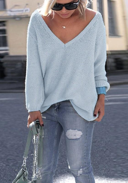Blue Plain V-neck Long Sleeve Fashion Pullover Sweater