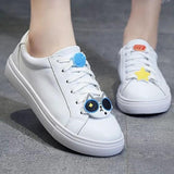 Blue Round Toe Flat Cartoon Print Casual Shoes