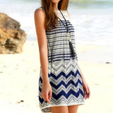 Blue-White Patchwork Lace Hollow-out Zipper Sleeveless Bohemian Mini Dress