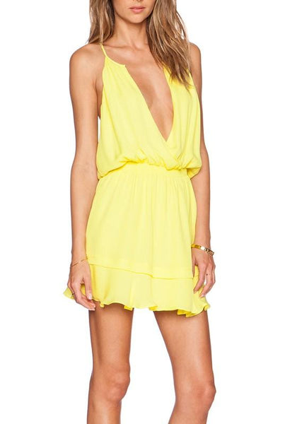 Buff Plain Condole Belt Draped Plunging Neckline Sleeveless Mini Dress