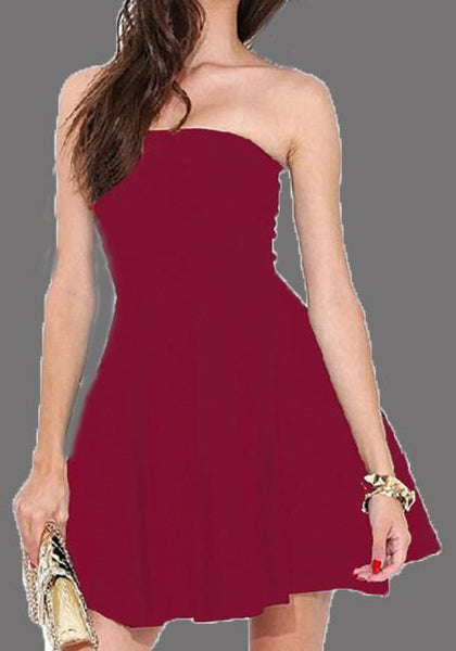 Burgundy Bandeau Pleated Blackless Off Shoulder Homecoming Party For Teens Tutu Mini Dress