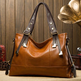 Women Pu Leather Tote Bag High-end Oil Wax Leather Handbag