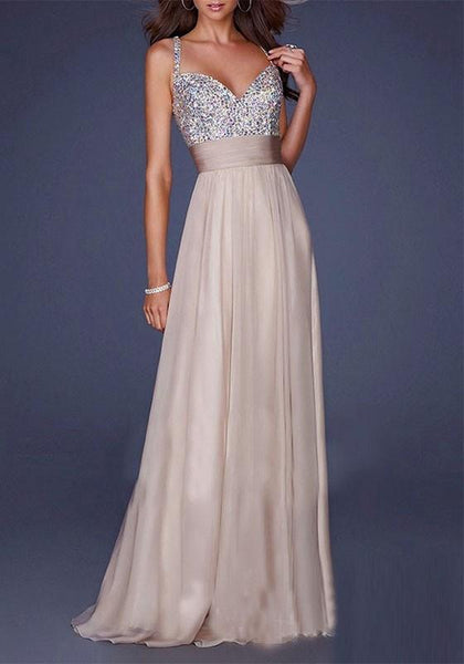Beige-Sliver Sequin Spaghetti Strap Draped Tulle Deep V-neck Elegant Club Party Maxi Dress